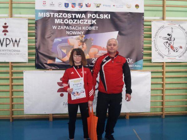 Karolina Zień - brązowa medalistka Mistrzostw Polski z trenerem Ryszrdem Śliwińskim