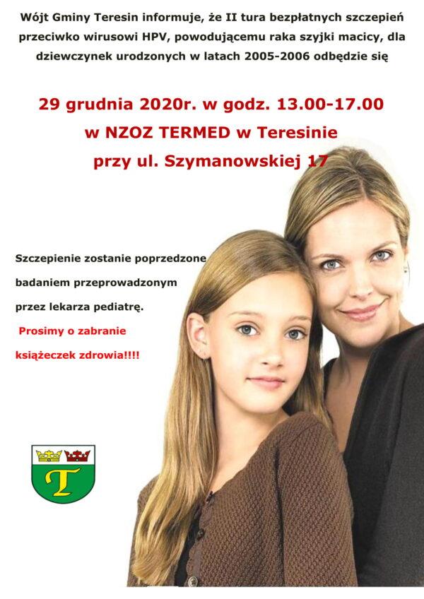Plakat szczepienia III tura-1 Mama i córka zapraszają do udziału w programie szczepień przeciwko HPV