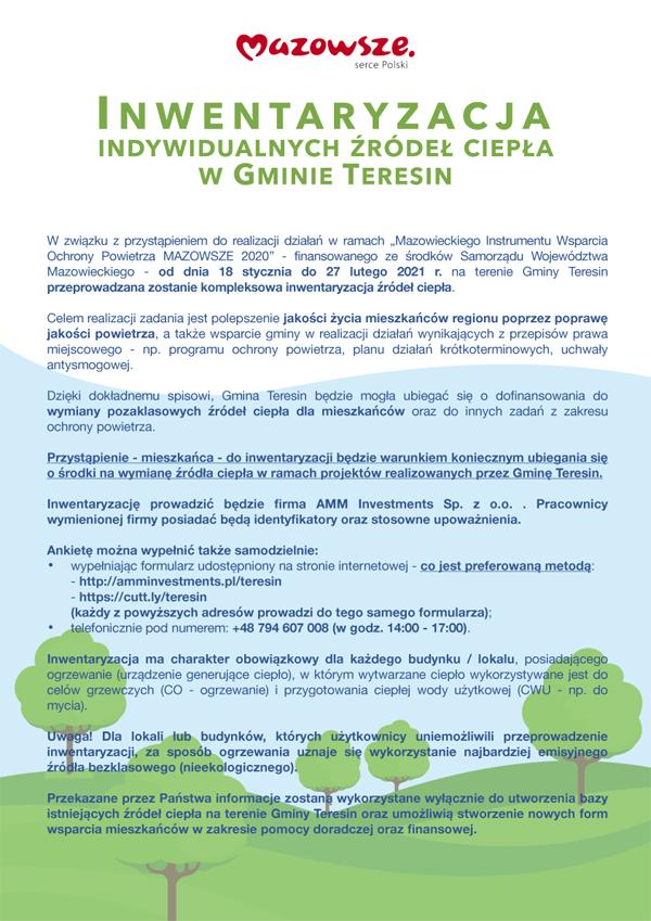 Plakat, inwentaryzacja źródeł ciepła