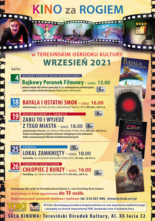 Plakat repertuar Kino za Rogiem wrzesień 2021