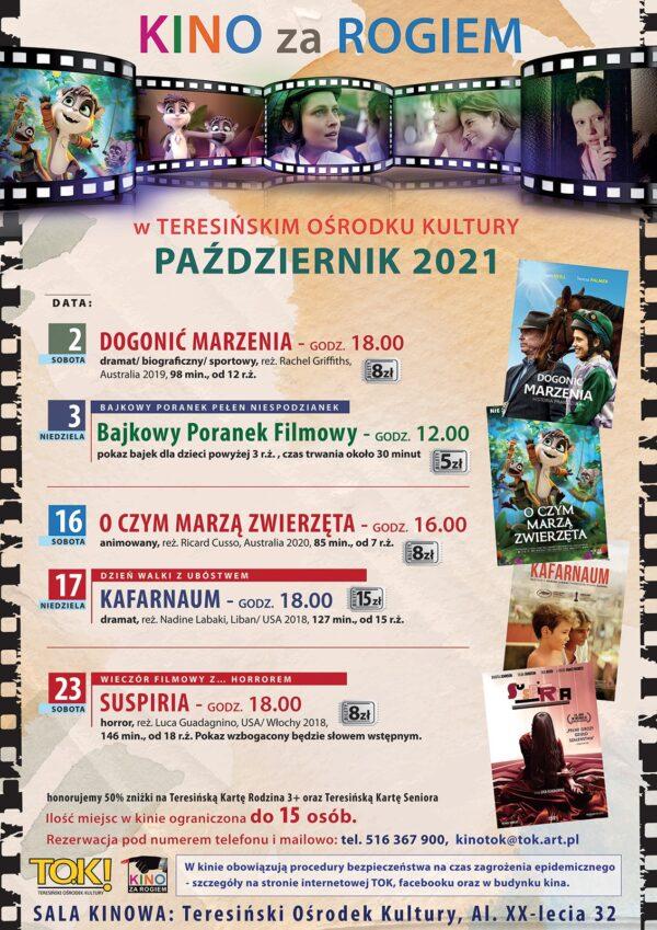 Plakat Kino Za Rogiem w październiku